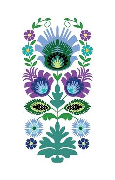 'Polish Folk Flowers Light Blue on Black' iPhone Case by Barbara Pixton