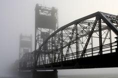Foggy morning Stillwater Bridge, MN Pretty Pictures, Pretty Pics, Go To High School, Foggy Morning, The St, Sydney Harbour Bridge, Minnesota, Scenery, River