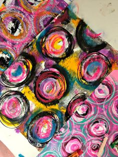 colorful art with gelli