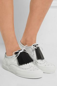 Sole measures approximately 15mm/ 0.5 inches White leather Lace-up front Imported
