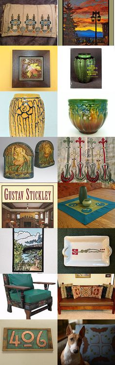Arts and Crafts Movement by allan elliott on Etsy--Pinned with TreasuryPin.com | Door Pottery | Paint By Threads, Natalie Richards | Jan Schmuckal | Fay Jones Day | Embroidery | Textiles | Linens | Gustav Stickley | Grove Park Inn | Craftsman | Bungalow