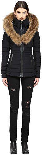 MACKAGE Adalina Black Luxe Light Weight Down Coat With Fur Hood. #mackage #cloth #