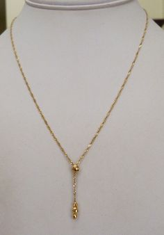 """14K GOLD ITALY TWISTED CHAIN FACETED GOLD BEAD DROP NECKLACE 17"""" LONG 1.6 GR"""