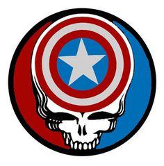 Captain America Grateful Dead 2.25 Inch Pinback Button Badge Pin - $1.99