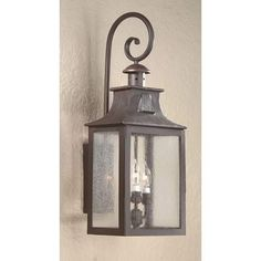 Newton Fluorescent Large Old Bronze Exterior Wall Light