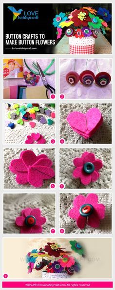 Button crafts to make button flowers