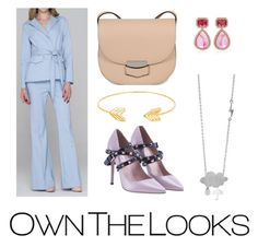 """""""Light Blue Pant Suit Set"""" by ownthelooks on Polyvore featuring CÉLINE, Valentino, Dana Rebecca Designs and Lord & Taylor"""