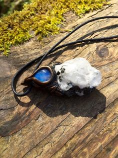 Rainbow Moonstone Raw Gemstone Pendant by lanternmoss on Etsy