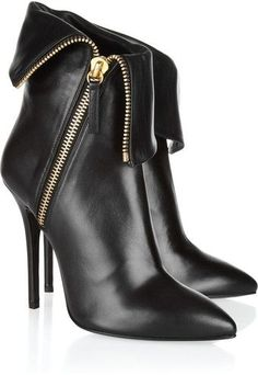 Folded Leather Ankle Boots