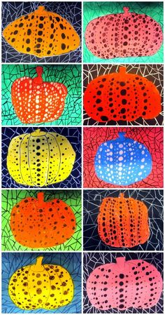 "Pumpkin inspiration: Exploring the style of Japanese ""dot"" artist Yayoi Kusama. (Translate button available in the post from the Plastiquem blog.)"