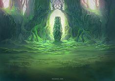 Landmark in the Jungle by Nele-Diel on DeviantArt Image Painting, Environmental Art, Great Pictures, Game Art, Mystic, Fantasy Art, Northern Lights, Scenery, Deviantart