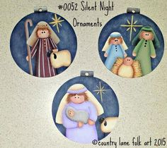 Nativity painting pattern, Christmas ornament pattern, decorative painting epattern, Silent Night Ornaments pattern, tole painting pattern EPATTERN 0052 Silent Night Ornaments paint by countrylanefolkart Christmas Nativity, Christmas Art, Christmas Decorations, Christmas Ornaments, Nativity Crafts, Santa Paintings, Christmas Paintings, Painted Ornaments, Ornaments Design