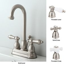 @Overstock - This stunning bathroom faucet adds a classic touch to any home decor. The faucet includes lever-style handles and a high arch spout that swivels.http://www.overstock.com/Home-Garden/Satin-Nickel-High-Arc-Bathroom-Faucet/5851842/product.html?CID=214117 $64.99