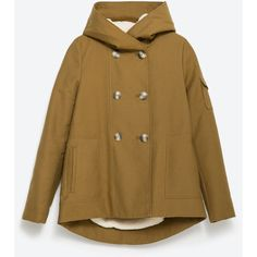 Zara Parka With Hood ($129) ❤ liked on Polyvore featuring outerwear, coats, olive green, olive green parka, lined parka, zara coat, zara parka and hooded coats