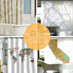 roundup of map shower curtains