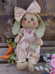 Handmade Primitive Bunny Rabbit Cloth Doll by CountryLifeisBest, $75.00