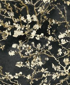 Van Gogh Blossoming Almond Trees x Floral and Botanical Plaster Wallpaper Roll Van Gogh Wallpaper, New Wallpaper, Black Wallpaper, Wallpaper Roll, Pattern Wallpaper, Black Textured Wallpaper, Vincent Van Gogh, Van Gogh Tapete, Van Gogh Famous Paintings