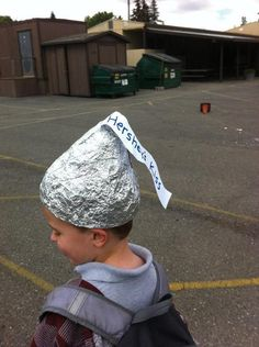 At The Last Minute My Son Told Me It Was Crazy Hat Day At School - 1st comment: Now the aliens can't read his mind! .. UPVOTED!! xD