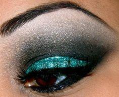 Gorgeous dramatic black and teal glitter smokey eye makeup #eyes #makeup #eyeshadow