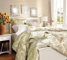 I have this in red and love it! MATINE TOILE QUILT & SHAM. pottery barn use in guest room on twin beds