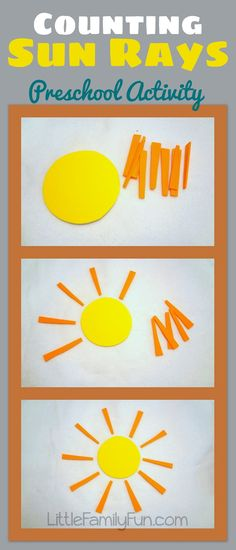 Counting Sun Rays - Preschool Activity - This idea could also be turned into a NIM game to be played with older siblings. Place a certain number of sun rays around the circle (Cuisenaire Rods with a yellow pattern block in the middle) Take turns removing one or two rays. The person who has to pick up the last ray is the loser.