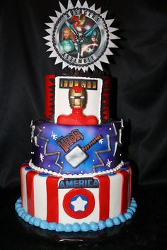 Avengers super hero cake by busybcakes