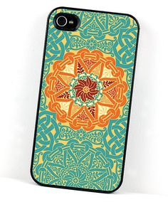 Handmade Geometric iPhone Case, 4 and 4S, Teal Blue and Orange Medallion, Celtic or Renaissance Style. $20.00, via Etsy.
