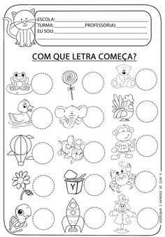 A Arte de Ensinar e Aprender: Atividade pronta - Letra inicial Therapy Activities, Preschool Activities, Teaching Kids, Kids Learning, Portuguese Lessons, English Activities, Education English, Speech Therapy, Worksheets