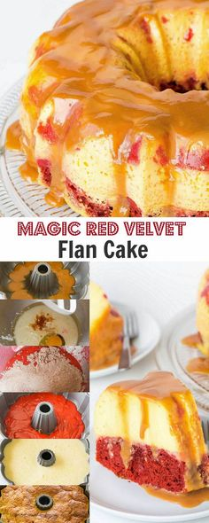 MImpress your sweetheart with this fabulous magic red velvet flan cake. This cake is not only stunning to look at, it's also absolutely divine to devour! Plus, something magical happens during baking. Cupcakes, Cupcake Cakes, Bundt Cakes, Layer Cakes, Velvet Cake, Red Velvet, Cake Recipes, Dessert Recipes, Cuban Recipes