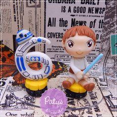 Mini Topo com Vela Personalizado Star Wars - Luke e R2-D2 - Paty's Biscuit
