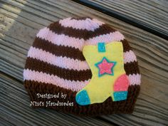 GIRLY NEON Cowboy Boot Beanie For Sizing and by NinisHandmades, $23.00