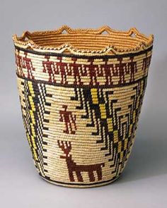 Nettie Jackson (Klikitat) | Cedar Root Berry Basket, 1983, Western red cedar, beargrass, and commercial dyes