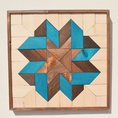 Wood Wall Art Turquoise Bundle Tryptic by RoamingRootsWoodwork - quilt patterns Reclaimed Wood Wall Art, Reclaimed Wood Projects, Wooden Wall Art, Wall Wood, Pallette, Barn Quilt Patterns, Beginner Woodworking Projects, Pallet Art, Picture On Wood