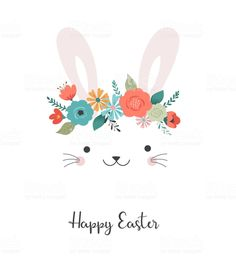 Happy Easter card - cute bunny with flower crown, vector illustration royalty-free happy easter card cute bunny with flower crown vector illustration stock vector art & more images of animal Crown Illustration, Easter Illustration, Rabbit Illustration, Hoppy Easter, Easter Bunny, Easter Card, Happy Passover Images, Corona Vector, Fete Pascal