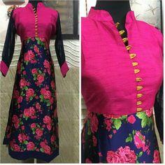 Cotton Floral Print Pink & Navy Blue Semi Stitched Long Anarkali Kurti - 3