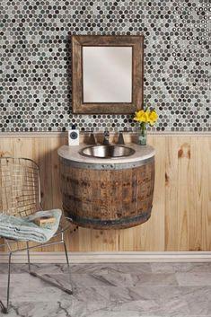 "For ""Most innovative bathroom furniture"" Native trails wins with Bordeaux Wall Mount - wine barrel bathroom sink! Wine Barrel Sink, Wine Barrels, Wine Cellar, Wine Barrel Furniture, Sweet Home, Diy Casa, Wall Mounted Vanity, Home And Deco, Bathroom Furniture"