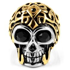 Gold Crowned Skull Steel Ring | In stock! | SteelCZ Skull Jewelry, Skull Rings, Biker Rings, Bad To The Bone, Ring Size Guide, Gold Crown, Medusa, Rings For Men, Hyabusa Motorcycle