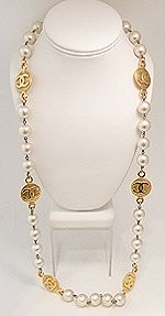 Vintage Signed Chanel 29 Faux Pearl & Logo Medallion Necklace
