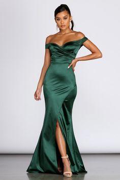 Brit Formal Off The Shoulder Dress Cotillion Dresses, Gala Dresses, Satin Dresses, Strapless Dress Formal, Formal Dresses, After 5 Dresses, Dresses For Sale, Green Bridesmaid Dresses, Bridesmaids
