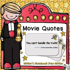 Use 50 of the best movie lines of all time to jumpstart student writings.  Memorable movie lines require two essential ingredients: 1) They must sound like something a real person would actually say, and 2) the character must deliver the lines with just the right amount of emotion.   What a great challenge for students to practice writing authentic dialogue with the help of some of the most quoted lines in movie history. $