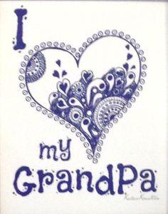 I <3 my GrandPa - Original Art Poster Unframed Print - 8x10 Grandfather GrandParents Nursery Father's Day Birthday Gift Wall Home Decor