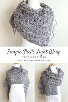 Crochet Scarf Ideas Simple Shells Light Wrap Crochet Pattern - This Simple Shells Light Crochet Wrap Pattern is a lightweight crochet wrap that you can take on vacations or for mild weather. Crochet Shawls And Wraps, Crochet Scarves, Crochet Yarn, Crochet Clothes, Free Crochet, Crochet Wrap Pattern, Shawl Patterns, Crochet Beanie, Crochet Gifts