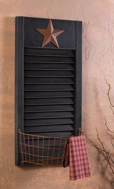 Rustic Wall Basket with Black Shutter and Western Star Design - Country Storage…