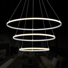 529.66$  Buy now - http://aliysx.worldwells.pw/go.php?t=32477405652 - Creative Art Ring Shape Acrylic Droplight Modern LED Pendant Light Fixtures For Living Dining Room Hanging Lamp Indoor Lighting 529.66$