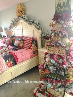 Our master bedroom is all decorated for Christmas ! I used all my Pioneer Woman bedding . the ticking stripe comforte. Country Christmas Trees, Christmas Porch, Prim Christmas, Christmas In July, Christmas Goodies, Christmas Design, Outdoor Christmas, All Things Christmas, Classy Christmas
