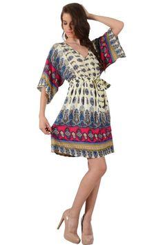 Φόρεμα καφτάνι εμπριμέ πάνω από το γόνατο σε άνετη γραμμή με ζώνη και λάστιχο στην μέση και V λαιμό εμπρός