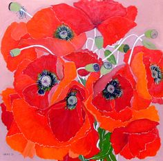 Helen Lucas  #Poppies #Painting--love the detail and color.