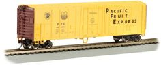 The Pacific Fruit Express 50' Steel Reefer. N scale rolling stock is now shipping in clear plastic boxes for display and storage convenience. Click http://www.livelocomotion.com/product/BAC70998 to get your model of this great box car for $13.25