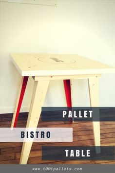 Create an elegant addition to your kitchen, dining room or terrace with this Pallet Bistro Table. We painted the legs on the inner surface, and it has a soda manufacturer's logo stenciled on the top surface. Taper the legs to create a light, airy feeling Pallet Bistro Table. Pallet ... #DiningRoom, #Kitchen, #PalletTable