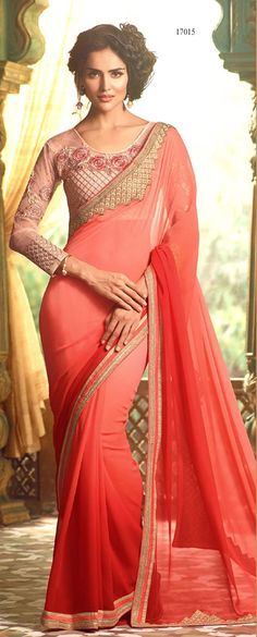 Price @3329.00 INR  Colour : Peach  Saree Fabric : Georgette  Blouse Fabric : Fancy Blouse  Work : Heavy Embroidery